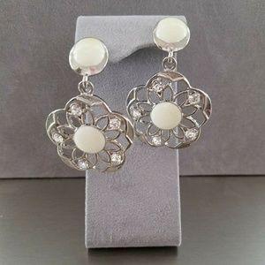 Cream and Rhinestone White Metal Post Earrings